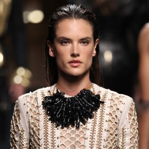 Alessandra Ambrosio Walks Balmain Men's Fashion Show 2015