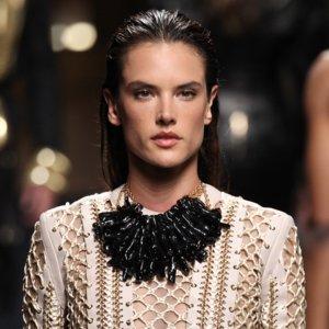 Alessandra Ambrosio Walks Balmain Men's Fashion Show 2015