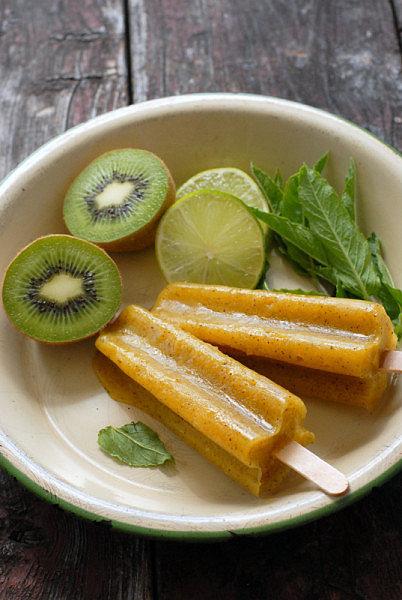 Mango-Kiwi Limeade Popsicles
