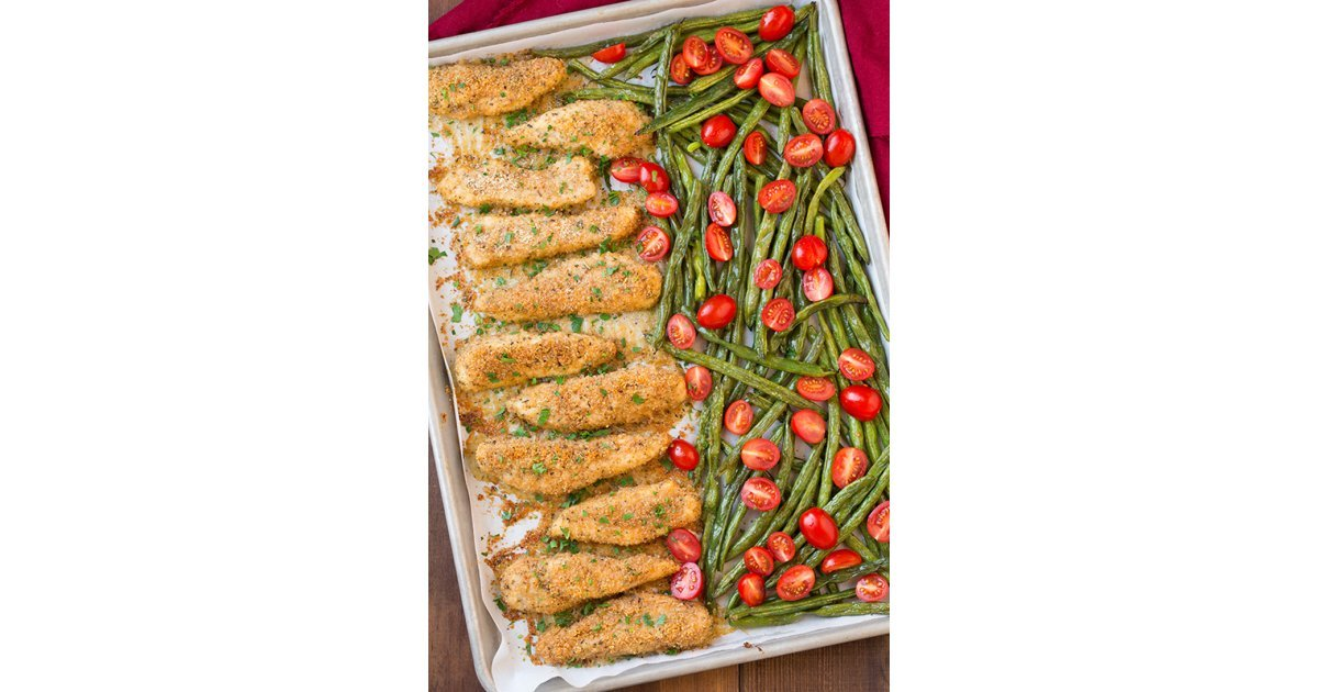Garlic Parmesan Chicken Tenders With Roasted Green Beans