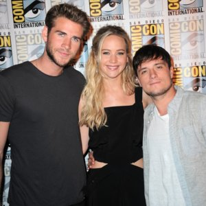 Jennifer Lawrence and Liam Hemsworth at Comic-Con 2015
