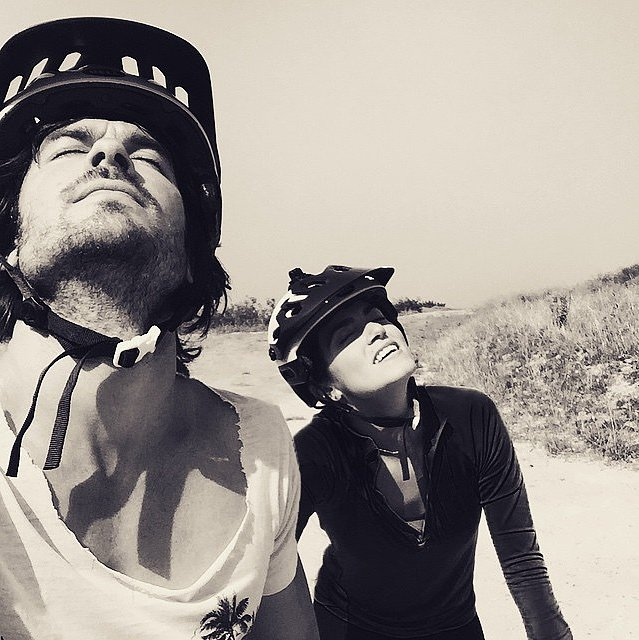 Nikki Reed and husband Ian Somerhalder took in the great outdoors on a bike ride.