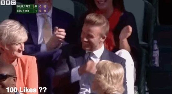David Beckham Catches Tennis Ball at Wimbledon 2015