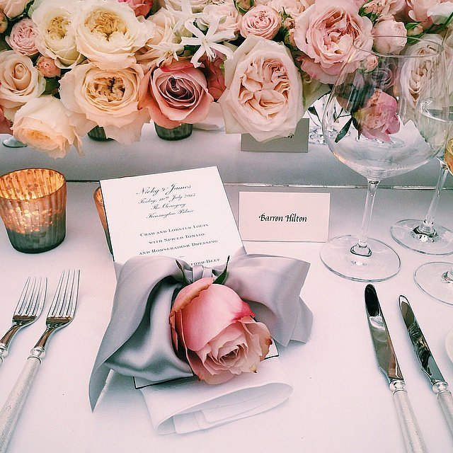 Roses of all colors made a table arrangement to die for.