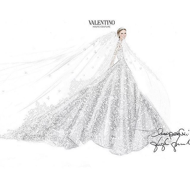 "Nicky shared the sketch of her stunning gown, writing, ""Thank you Valentino Haute Couture for designing me my dream wedding dress!"""