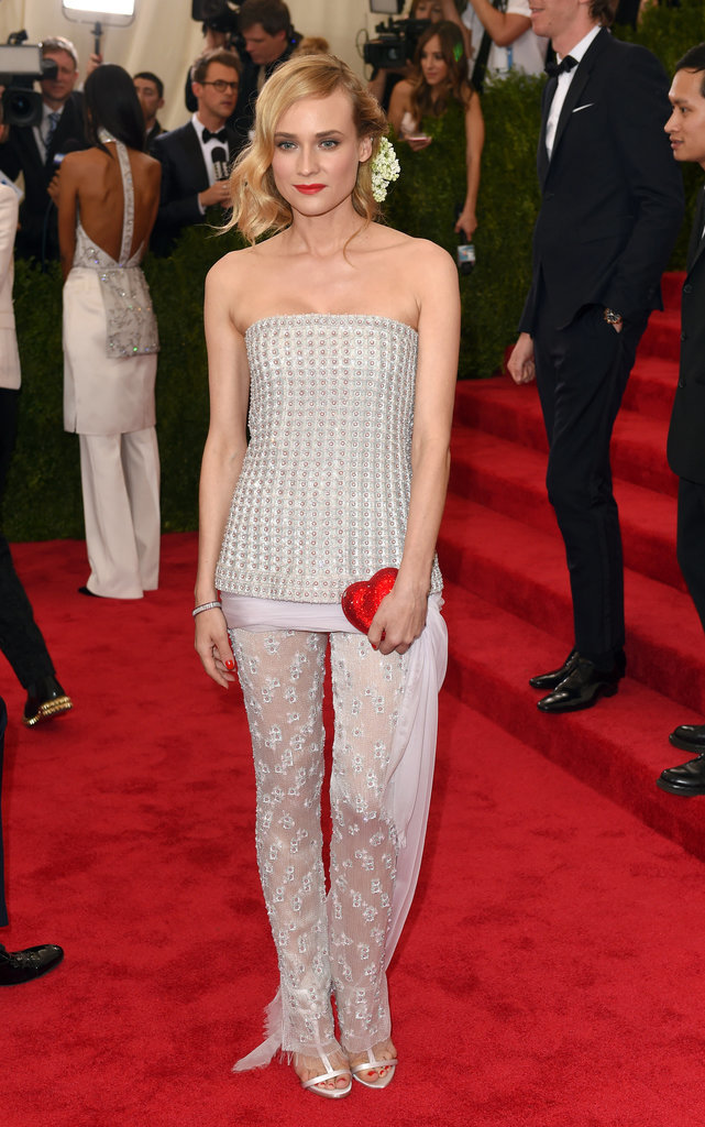 Diane is never afraid to rock pants on the red carpet. She stepped out in this lacy Chanel Couture set at the 2015 Met Gala.