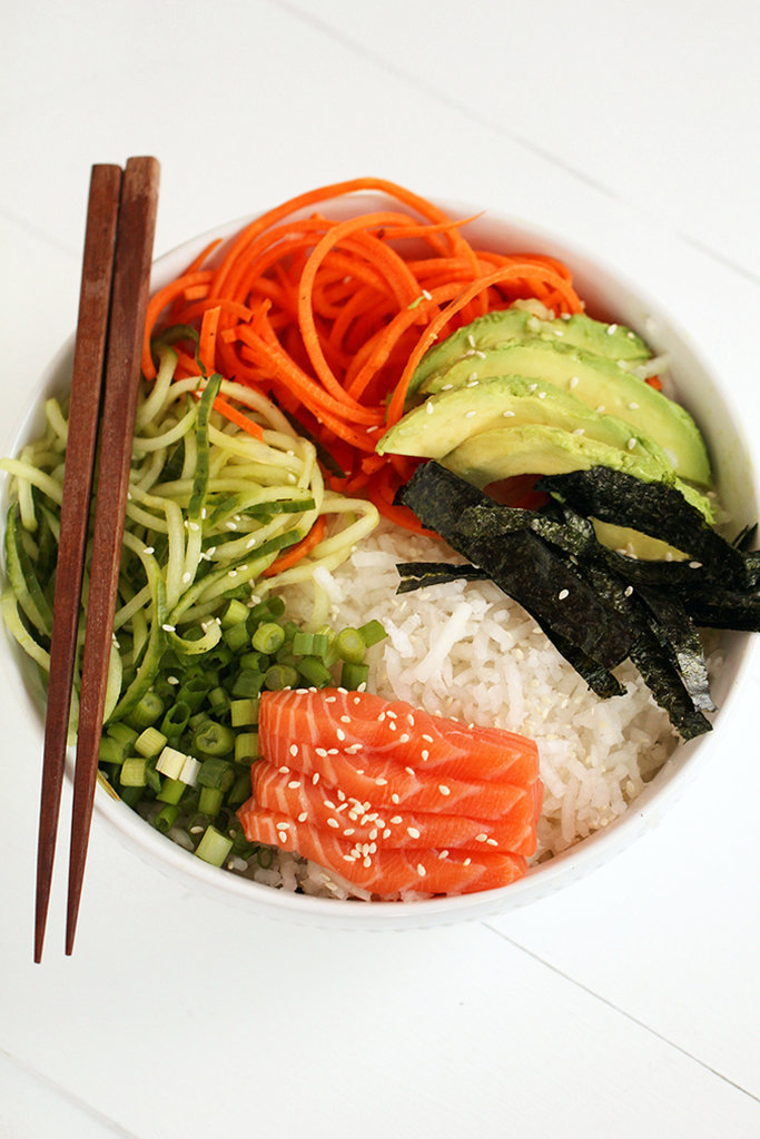 Spiralized Sushi Bowl With Salmon and Avocado