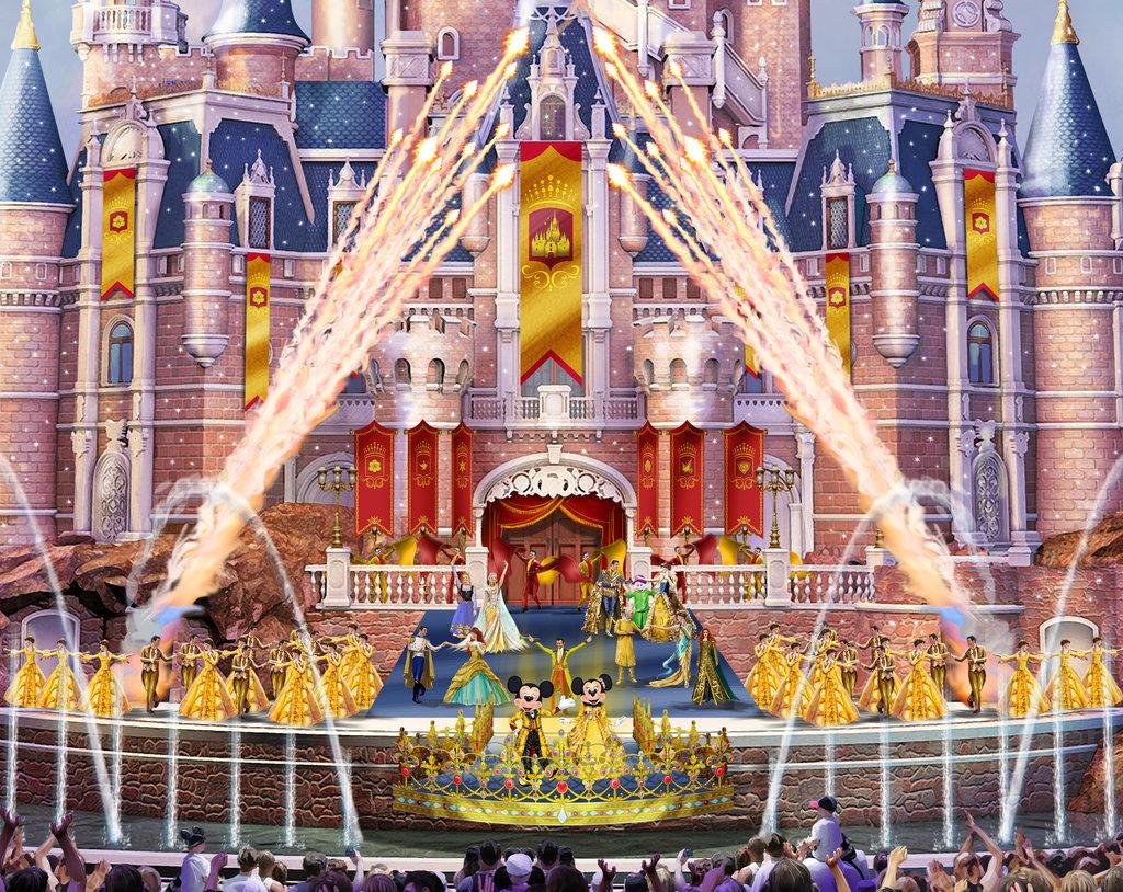 魔法童話城堡舞台上顯示渲染
