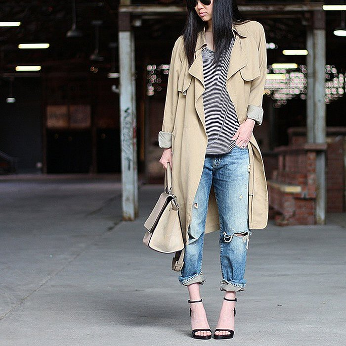 A Striped Shirt Boyfriend Jeans Heels and a Trench Coat ...