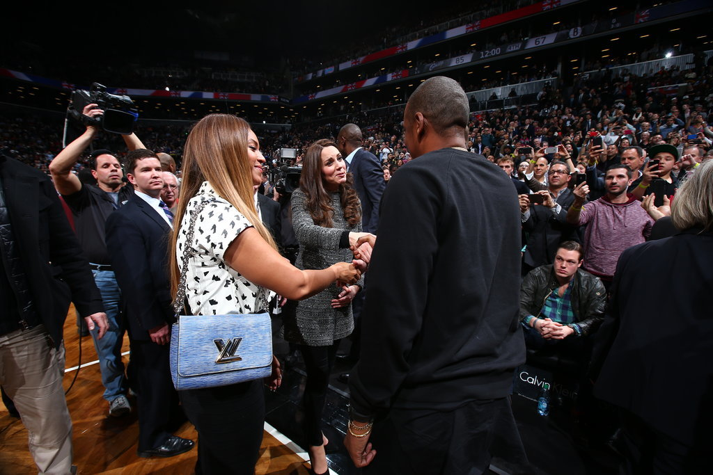Our very own royal couple, Beyoncé and Jay Z, met Prince William and Kate Middleton at an NYC basketball game in November 2014.