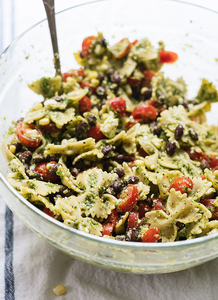 Get the recipe : pasta salad with tomatoes, corn, and jalapeño pesto