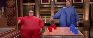 Jimmy Fallon and Danny DeVito Play a Hilarious Game of Flip Cup in Inflatable Suits