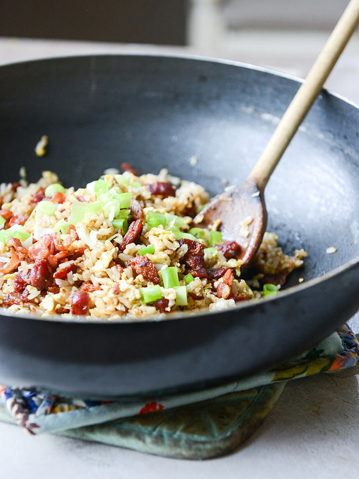 Breakfast Fried Brown Rice With Bacon
