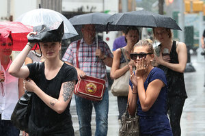 Ireland And Hailey Baldwin Got Caught In The NYC Downpour Today