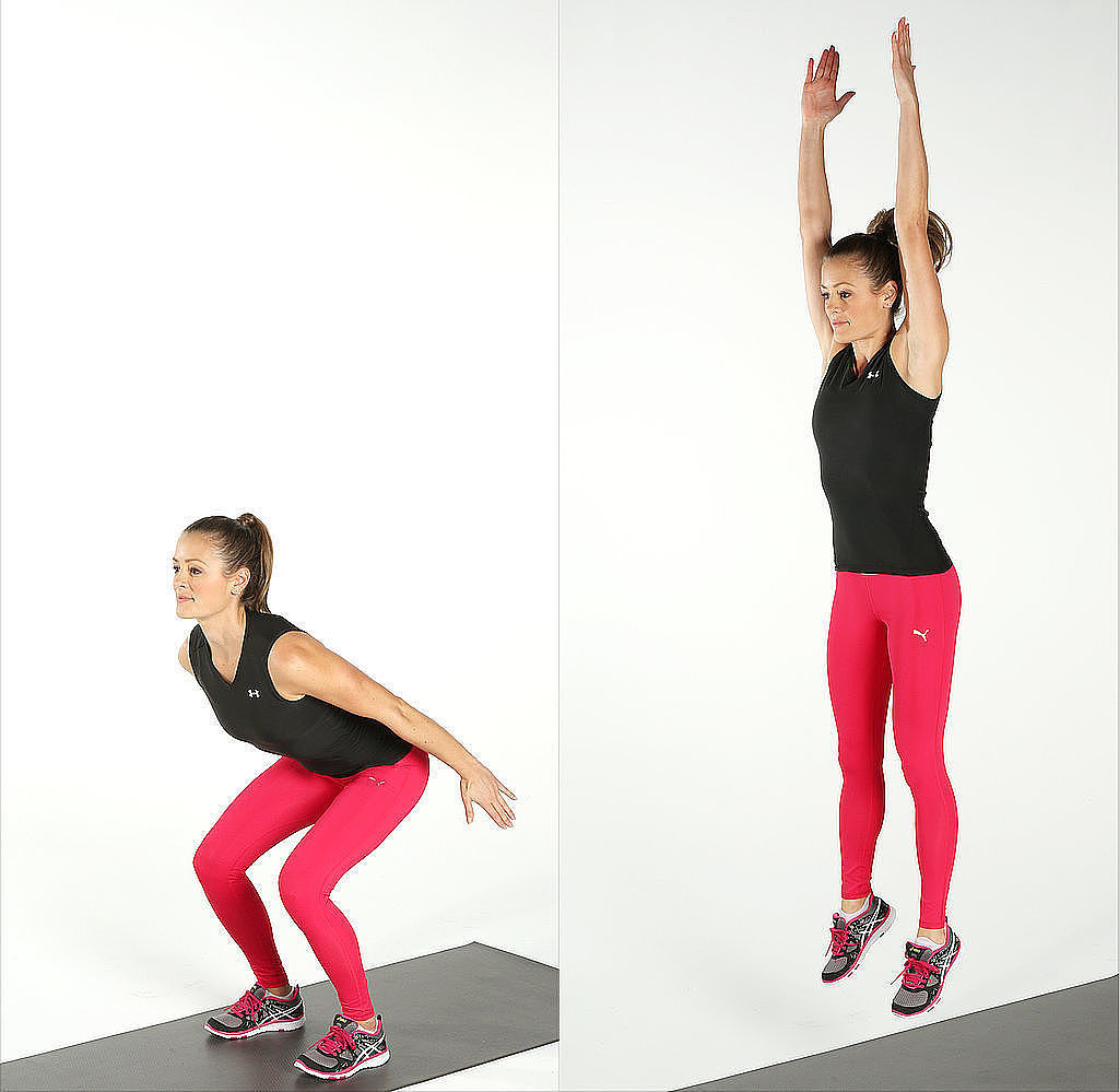 Jump squat: Start by doing a regular squat, then engage your core and jump up explosively. When you land, lower your body back into the squat position to complete one rep. Land as quietly as possible, which requires control (above).