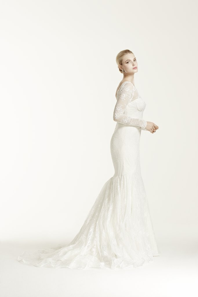 Victoria 39 s secret model wearing zac posen davids bridal for Truly zac posen wedding dress with sequin detail