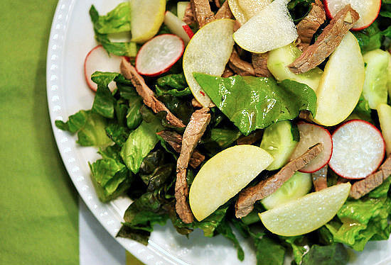 Apple, Pear, Radish, and Sesame Steak Salad