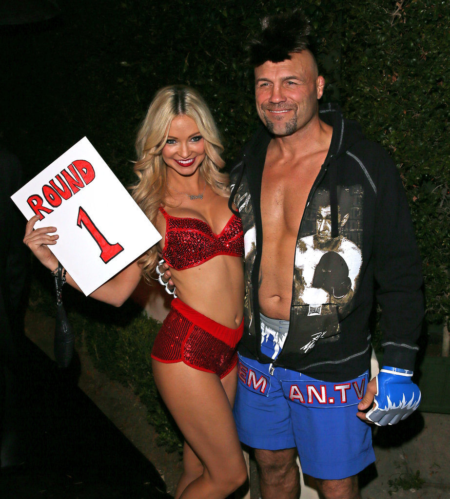 In 2014, martial artist and actor, Randy Couture, showed some skin as a fighter, while his companion played an adoring ring girl during their night out in LA.