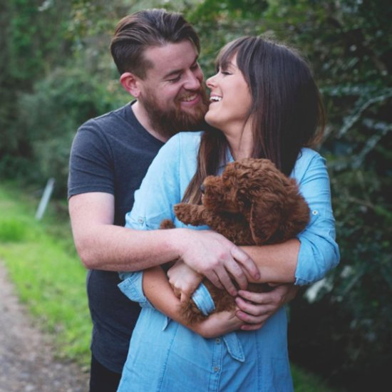 Newborn Photo Shoot Spoof With Puppy