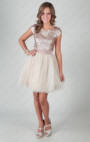 2015 party dress with sequin cap sleeve bodice
