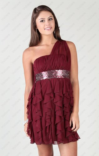 2015 one shoulder short dress with sequin accent waist