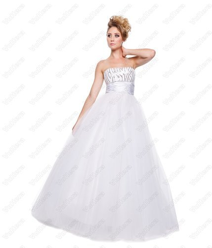 White Strapless Long Prom Dress - Vuhera.com