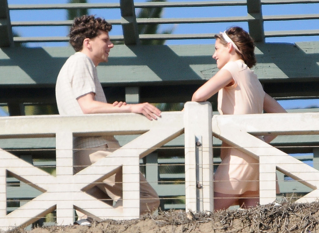 Here are pictures from earlier in the shoot, in Santa Monica. At first, they're just playing it cool.