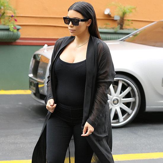 Kim Kardashian Wearing a Tight Dress While Pregnant