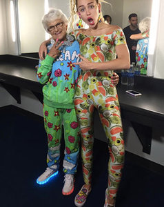Miley Cyrus Wears Fruit-and-Veggie Jumpsuit, Meets Baddie Winkle Before MTV VMAs