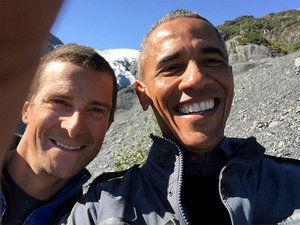 President vs. Wild: Obama Poses for Selfie with Survival Expert Bear Grylls in Alaska