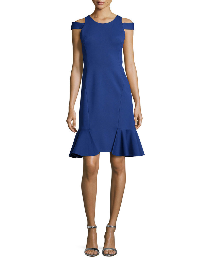 Rebecca Taylor Open-Shoulder Ruffled Pique Dress ($325)