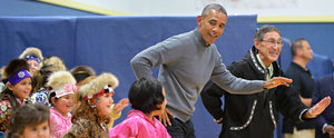 President Obama Busts a Move While Dancing With a Group of Kids in Alaska
