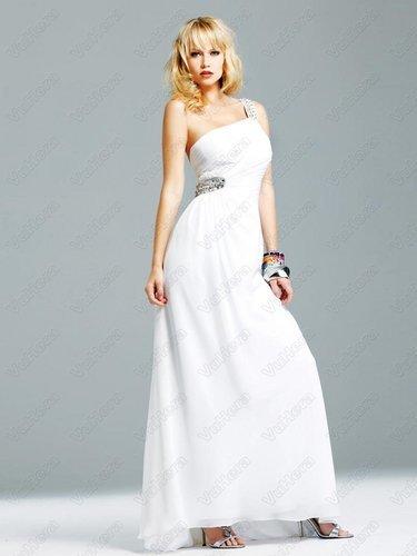 White One-shoulder Rhinestone Evening Dress - Vuhera.com