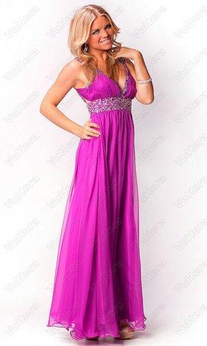 V Neck Ruched Long Beaded Purple Evening Dress - Vuhera.com