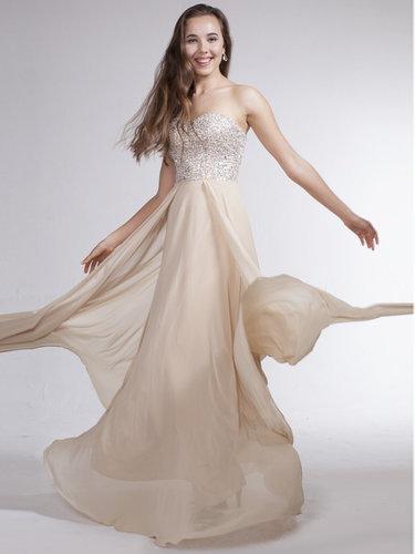 Strapless Long-length Dress with Rhinestones - Vuhera.com