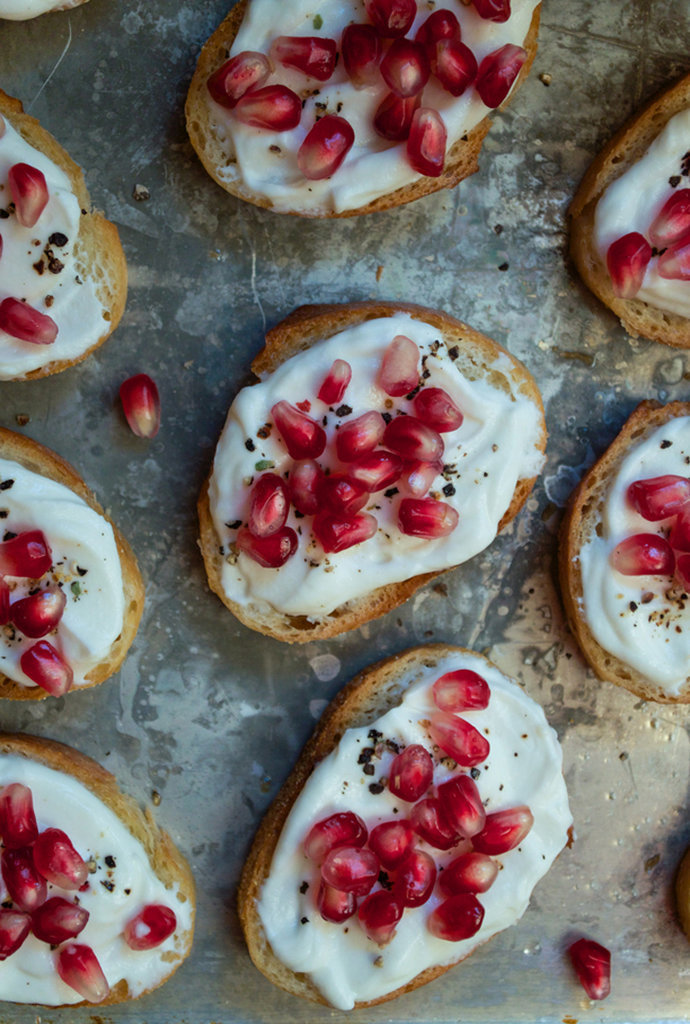 Whipped Honey Ricotta Crostini With Pomegranate