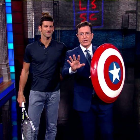 Novak Djokovic Serves Tennis Balls at Stephen Colbert