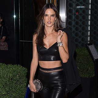 Alessandra Ambrosio Looks Hot in Leather Crop Top