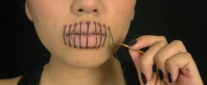 This Stitched Mouth Look Is Totally Worth Going Silent on Halloween