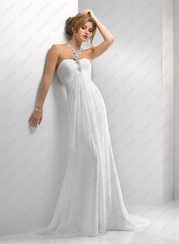 Verona Chiffon Elaborate Swarovski Crystal Neckline Sheath Wedding Dress - Vuhera.com