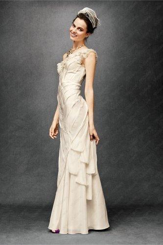 Silk One Shoulder Interior Corset Wedding Dress - Vuhera.com