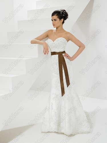 Satin Sweetheart Embroidered Bodice Column Wedding Dress - Vuhera.com