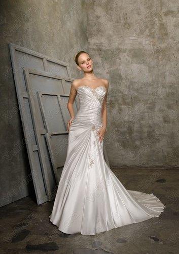 Satin Sweetheart Ruched Bodice Sheath Wedding Dress  - Vuhera.com