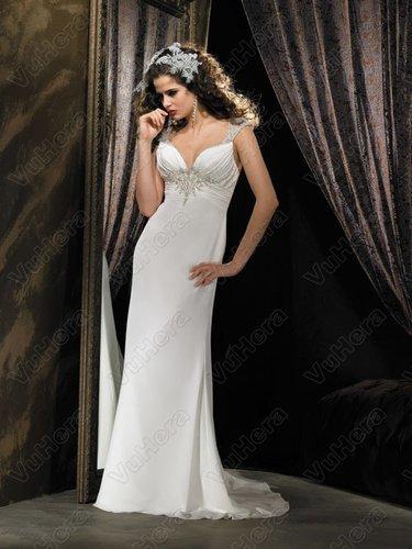 Ruched Bodice V-Neckline Column Wedding Dress - Vuhera.com