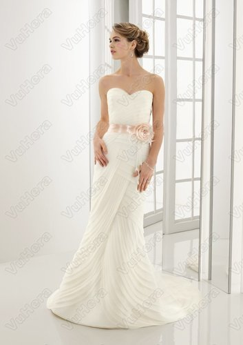 Organza Sweetheart Pleated Bodice Sheath Wedding Dress - Vuhera.com