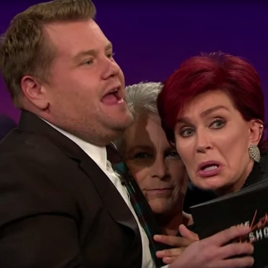 James Corden Cuddles With Jamie Lee Curtis Sharon Osbourne