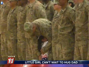 Little Girl Interrupts a Troop's Homecoming Ceremony to Hug Her Dad