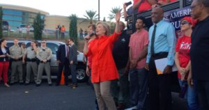 Hillary Clinton Makes Surprise Appearance At Donald Trump Protest