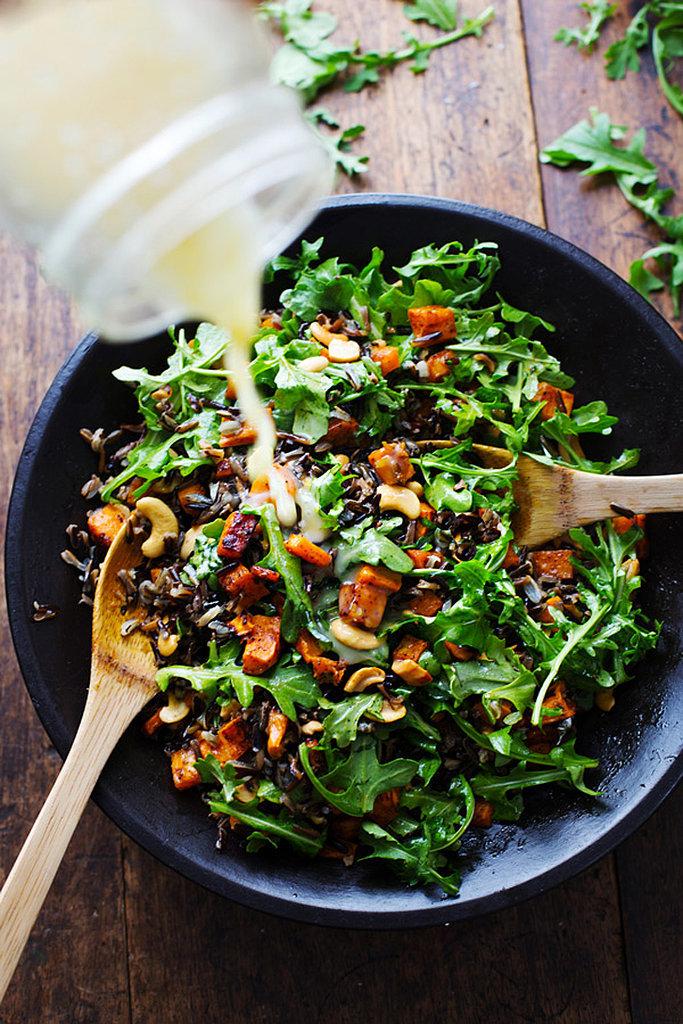 Roasted Sweet Potato, Wild Rice, and Arugula Salad
