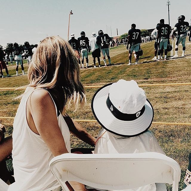 """""""Cam's first time at training camp today. Loved seeing daddy."""""""